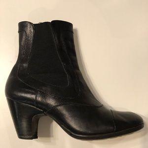 Born Crown black leather heeled booties